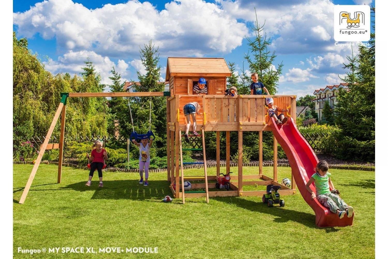 Fungoo ® My Space XL Move+ Spielhaus Set mit Rutsche und Schaukel Farbe blaue Rutsche günstig