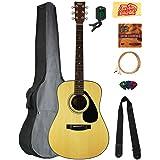 Yamaha F325D Dreadnought Acoustic Guitar Bundle with Gig Bag, Tuner, Strings, Strap, Picks, Austin Bazaar Instructional DVD, and Polishing Cloth (Color: Natural, Tamaño: Bundle w/ Gig Bag)