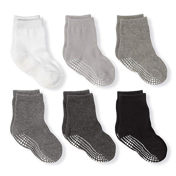 Baby Crew Grip Socks Cotton Anti Skid Non Slip Toddler Athletic Socks for Infant Newborn Kids Girls Boys