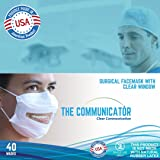 Communicator Surgical Face Mask with Clear Window (Easy Dispenser Box of 40 Masks) FDA Registered