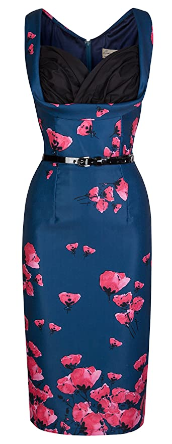 Vanessa Vintage 50s Stunning Poppy Print Wiggle Party Dress                                             $54.99 AT vintagedancer.com