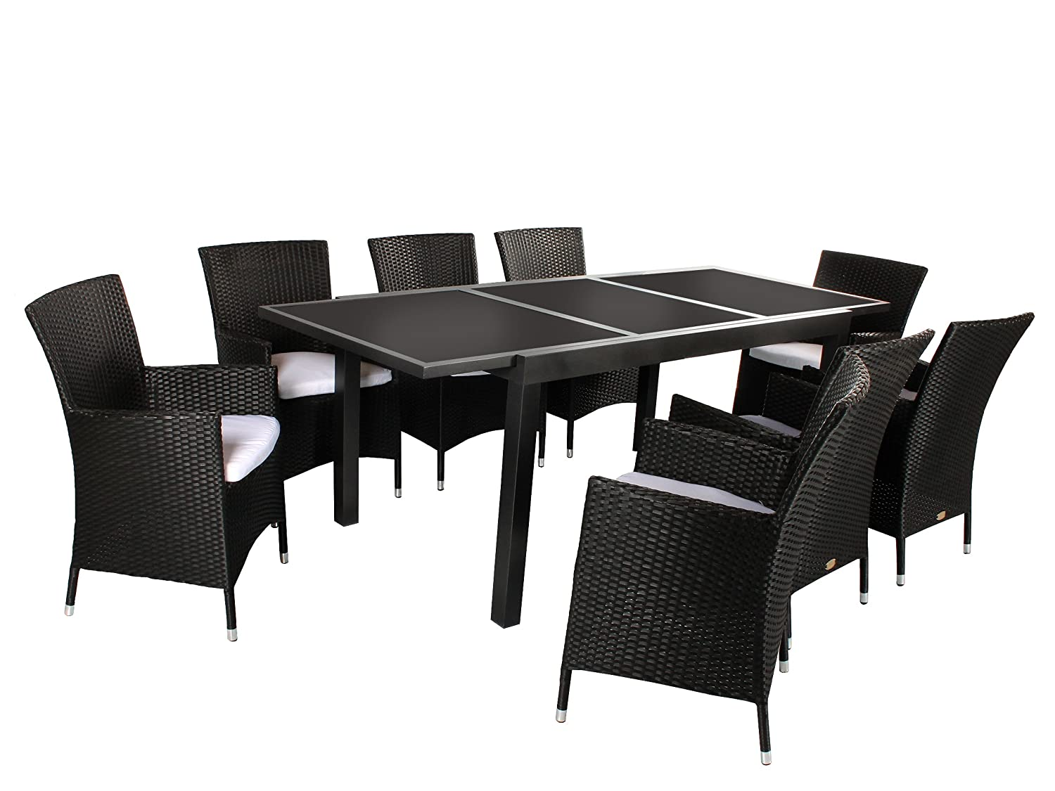 9tlg sitzgruppe verona aluminium ausziehtisch ca 150 210 x 90 cm anthrazit. Black Bedroom Furniture Sets. Home Design Ideas