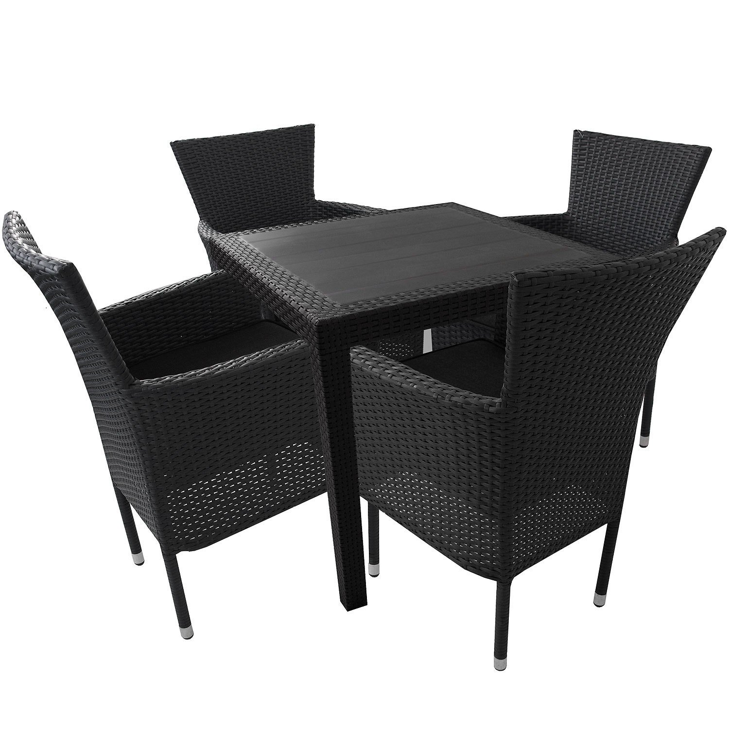 5tlg balkonm bel set gartentisch vollkunststoff rattan optik 79x79cm poly rattan gartensessel. Black Bedroom Furniture Sets. Home Design Ideas