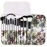 UNIMEIX Makeup Brush Premium 12 Pieces Makeup Brushes Set Foundation Powder Contour Concealer Blending Eyeshadow Professional Bursh Set with Floral Case (Color: White, Tamaño: 12 Black)