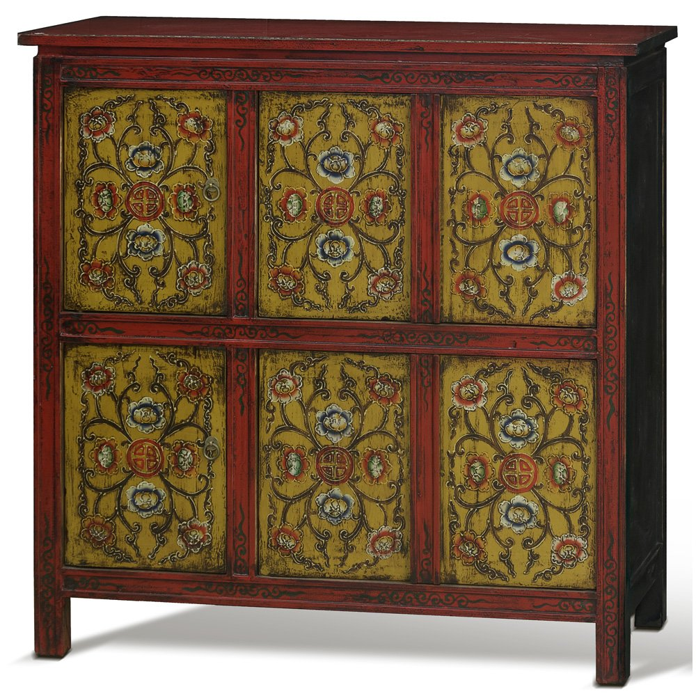 China Furniture Online Elmwood Cabinet, Hand Painted Floral Motif Tibetan Style High Chest Distressed Yellow and Red 0