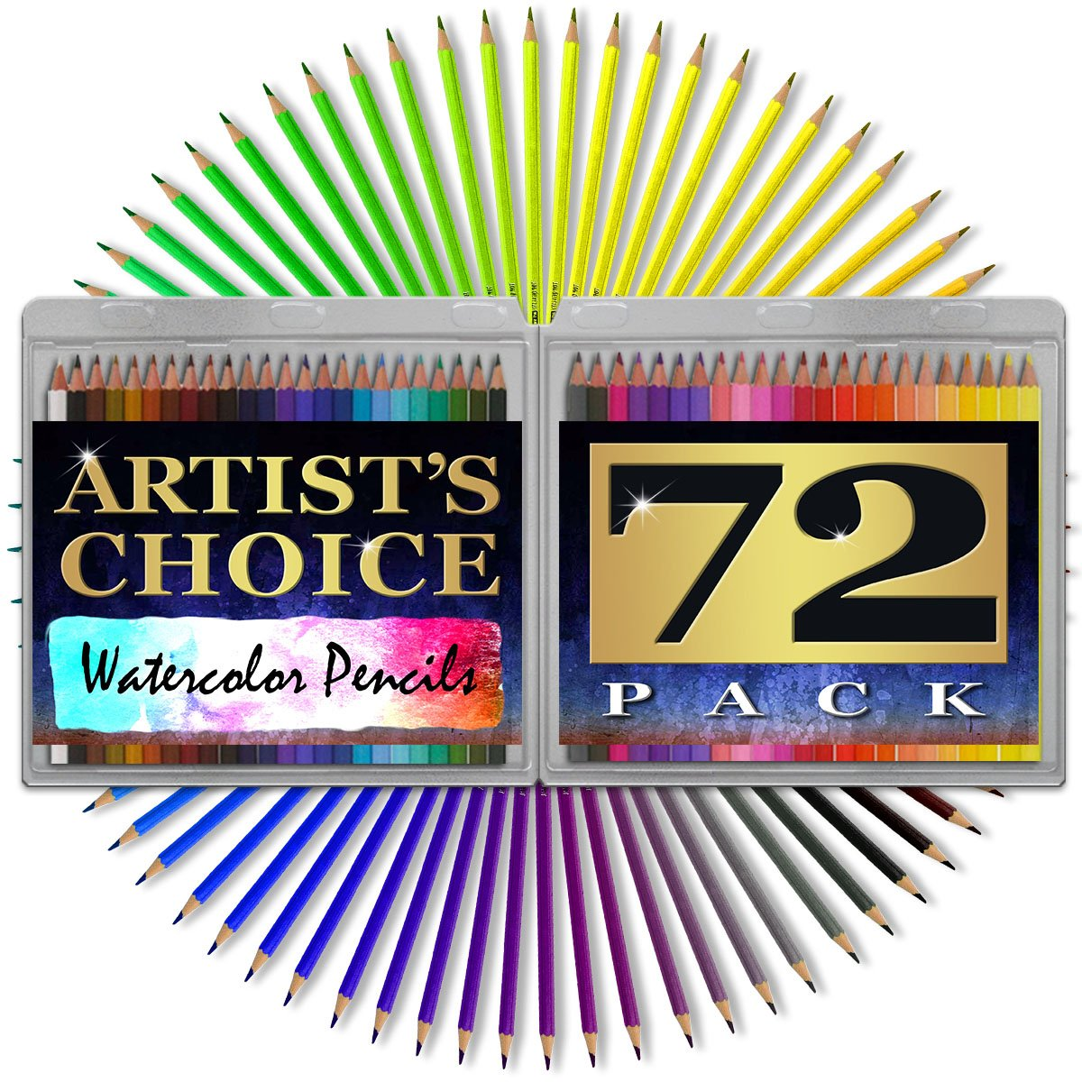 Watercolor Pencils - HUGE 72 PACK - 7 Inch Water Soulble HIGH QUALITY Colored Pencils - BONUS Watercolor Paint Brush Included - Carrying Case Included - Perfect Set for Technical Water Color Drawing