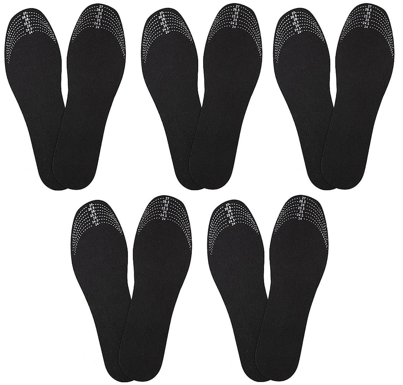 Pack of 5 Pairs Which Is 10 Insoles to Kill Off the Cause of Odor From Smelly Feet and Shoes Naturally with Activated Charcoal Wetness Drying and Odor Absorbing Shoe Insoles for Women's 7-12 and Mens 5.5-10.5 USA and Canada Shoe Sizes romanson rm 0358q lr brown
