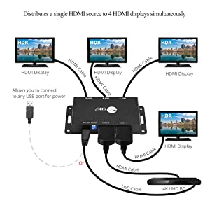 SIIG 1x4 Port HDMI 2.0 Splitter 4K 60Hz HDR Compact USB Powered Auto Scaling HDMI Splitter - HDMI 2.0a HDCP 2.2, 18Gbps, YUV 4:4:4, 3D, EDID, Dolby Digital - 1 in 4 Out (CE-H23L11-S1)