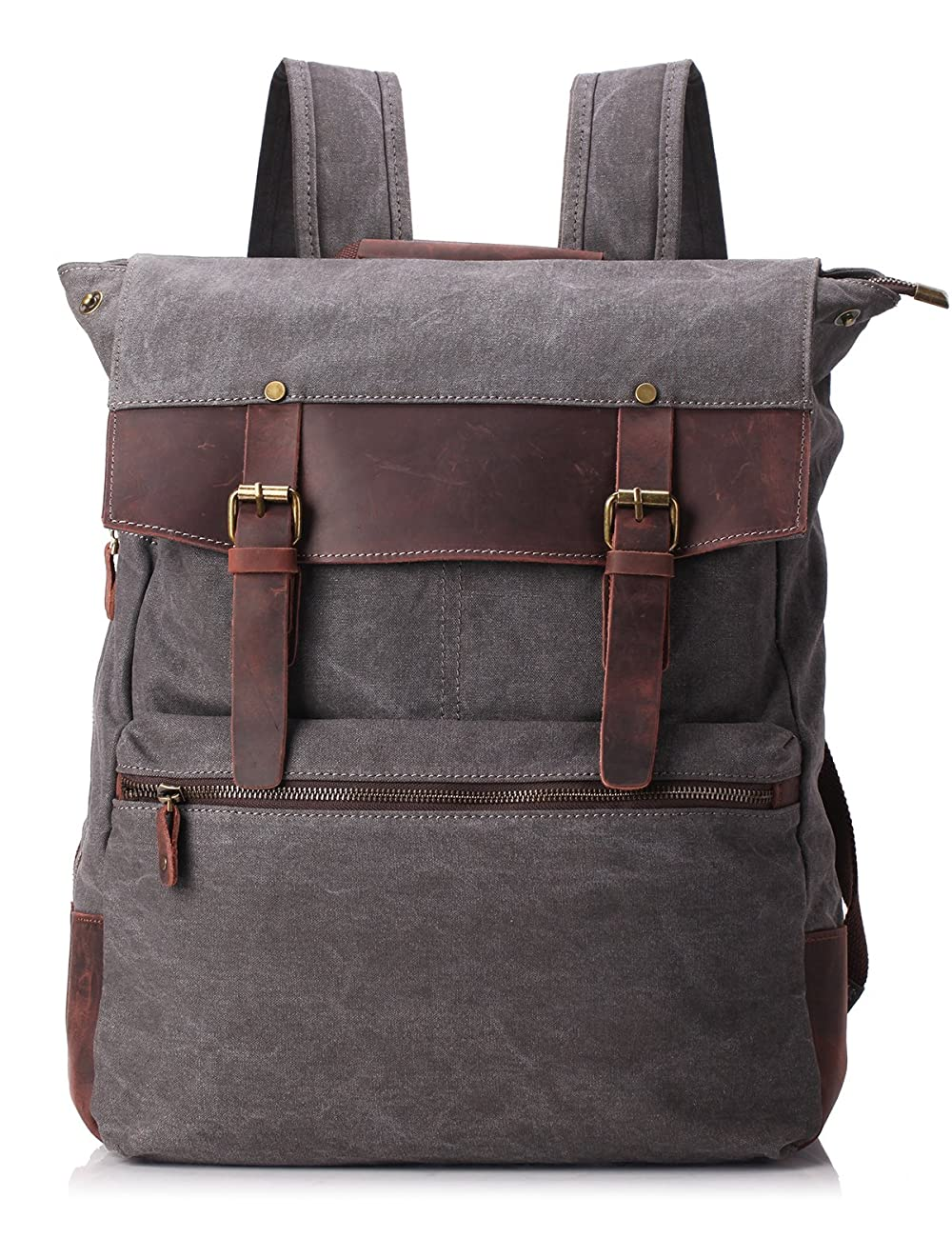 ZEKAR Vintage Waxed Canvas Leather Backpack, Multipurpose Daypacks 0