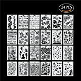 Kitamp Plastic Stencils Templates Set for Airbrush Painting and Crafts, Set of 24 (Tamaño: Large-24)