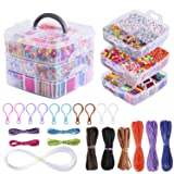 Peirich Jewelry Making Bead Kit, Includes 44 Colors Embroidery Floss with 3-Tier Organizer Storage Box with Threads, Over 4900 Beads for Friendship Bracelets, Jewelry Making Christmas Birthday Gift