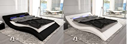 Designer Leder Bett Polsterbett mit 16 farbiger LED Beleuchtung Lederbett weiss oder schwarz wellenförmig modern gewelltes Bett gunstig (180x200 cm)
