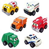 Set of 6 Cartoon City Silicone Emergency Vehicles Squeeze and Roll Toy Playset for Kids (Police Car, Fire Truck, Ambulance, Cement Mixer, Garbage & Dump Truck)