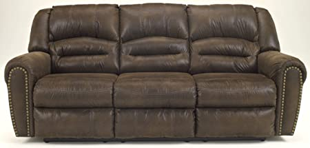Ashley McNeil Leather Reclining Sofa in Java