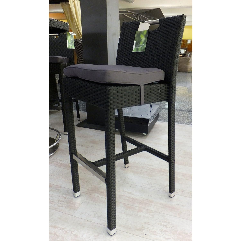 Hartman Montego Barhocker Stuhl mit Kissen Polyrattan schwarz/Edelstahl 22939908 online bestellen