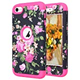 iPod Touch 7 2019 Case,iPod Touch 6 Case, SAVYOU iPod Black Flower Print Shockproof Armor Combo Case with Plastic + Silicone Cover for Apple iPod Touch 7th/6th/5th Generation Hot Pink (Color: A - Hot Pink)