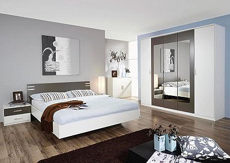 XANA-Möbel Schlafzimmer-Set Doppelbett (180x200) + 2x Nachtschränke + Kleiderschrank mit 5 Drehturen in Alpinweiß mit Lavagrauen Absetzungen