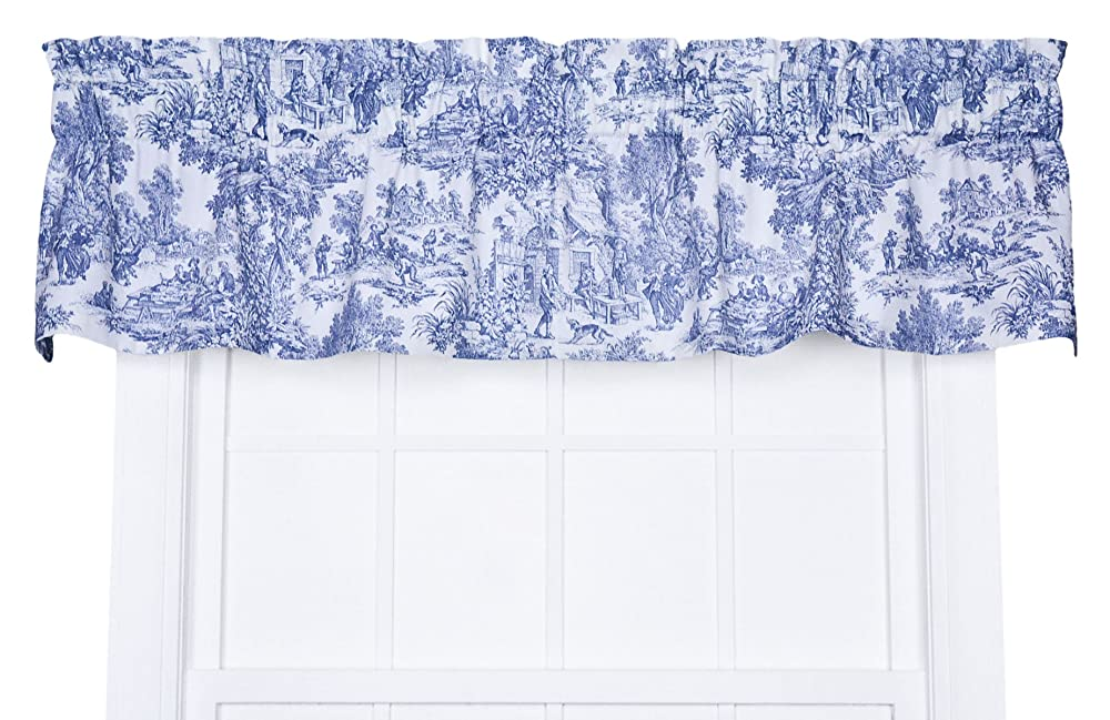Victoria Park Toile Tailored Valence Window Curtain Blue Free Shipping New Ebay
