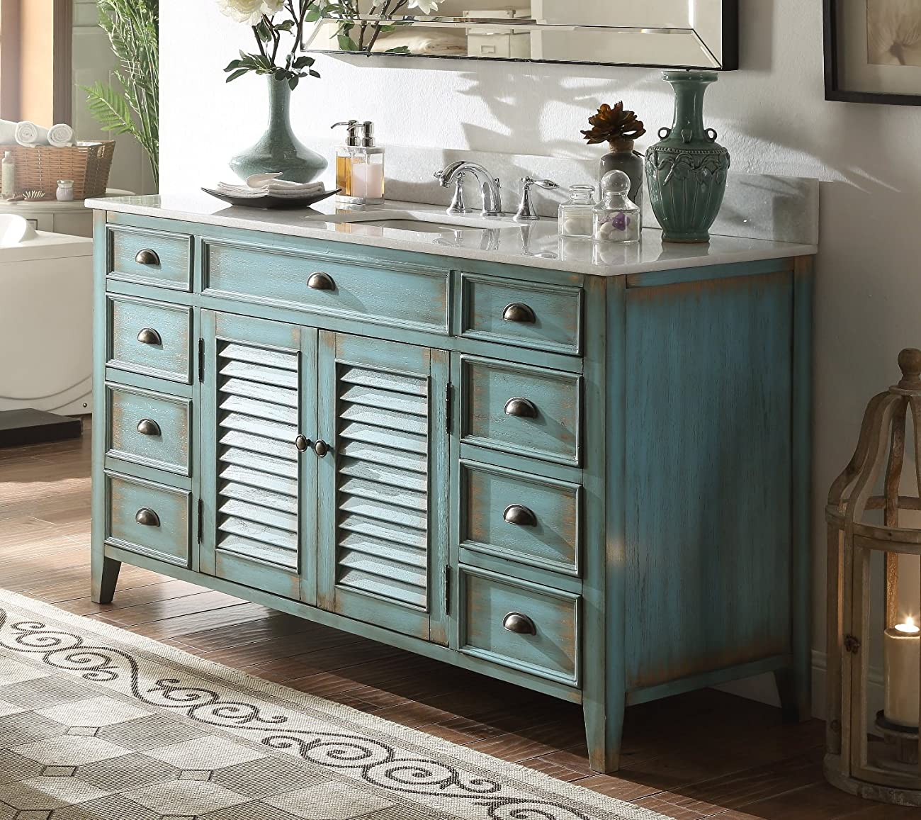 "60"" Cottage look Single Sink Abbeville Bathroom Sink vanity Model CF-66323BU-60 0"