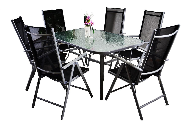 7tlg. Gartengarnitur Alu Sitzgruppe Sitzgarnitur Glastisch Gartenstühle schwarz günstig kaufen