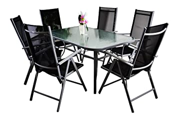 7tlg. Gartengarnitur Alu Sitzgruppe Sitzgarnitur Glastisch Gartenstuhle schwarz