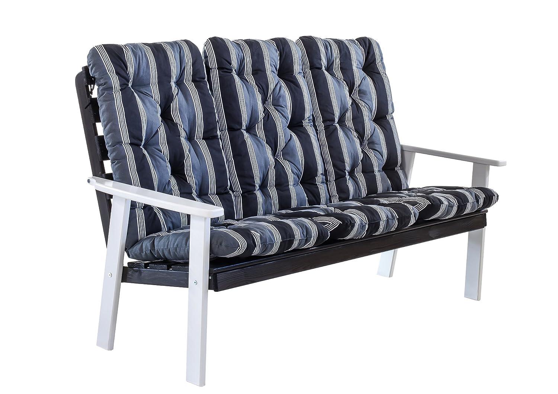 Ambientehome 90337 3-er Bank Gartenbank Holzbank Loungebank Massivholz Hanko Maxi grauweiß mit Kissen, schwarz / grau online kaufen