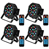 Stage Lights Baisun Uplighting RGB Uplights 18 LED Dj Lights With DMX Remote Control For Wedding Christmas Festival Birthday Party (4 pack) (Color: 4pcs packing)