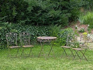 Gartentisch und 4 Stuhle Eisen Schmiedeeisen antik Stil Gartenmöbel braun Stein