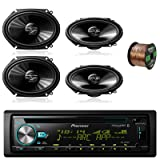 Pioneer DEH-S6000BS Car CD Player Receiver Bluetooth USB AUX Radio - Bundle Combo With 4x Pioneer TSG6820S 250-Watt 6x8