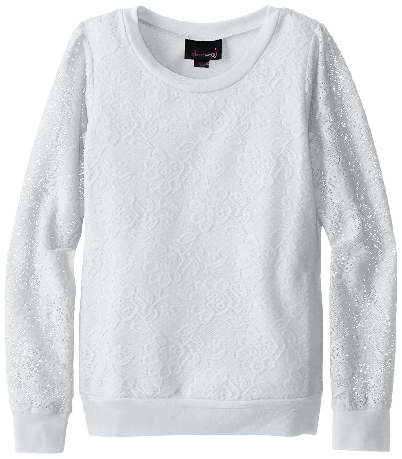 Dream Star Big Girls' Pullover Lace Sweatshirt