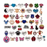 RUBYCA Wholesale 50pcs Floating Charms Lot for DIY Glass Living Memory Locket Silver Gold Color Mix 7