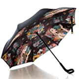 Nicole Lee Women's Cup Holder Handle Black Floral Print Pongee Uv Protection Reversible Umbrella, Angelina Follows Dream (Color: Angelina Follows Dream, Tamaño: One Size)