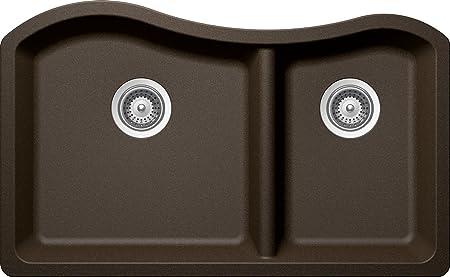 SCHOCK ASHN175U087 ASH Series CRISTADUR 70/30 Undermount Double Bowl Kitchen Sink, Bronze