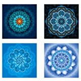 4 Pack 5D DIY Diamond Painting Set Decorating Cabinet Table Stickers Full Drill Rhinestone Diamond Embroidery Paintings Pictures, Mandala Flower Painting(25X25CM/9.8X9.8inch) (Color: blue)
