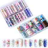 20 Rolls Laser Holographic Nail Art Stickers Colorful Flower Starry Sky Manicure Nail Foil Transfer Sticker Adhesive Wraps Decals Glitter Nail Art Acrylic DIY Decoration Kit