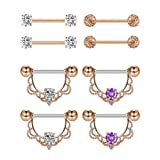 Jovitec 4 Pairs Stainless Steel Nipple Ring CZ Nipple Barbell Rings Rhinestone Nipple Tongue Body Piercing Jewelry, 14 Gauge (Rose-gold) (Color: Rose-gold)