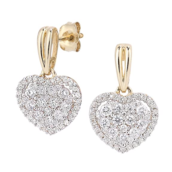 Naava 9ct Gold Diamond Heart Cluster Earrings