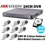 Hikvision 16CH HD CCTV System with 16CH DVR + 4TB HDD and 2MP IR Outdoor/Indoor Mini-Bullet Camera x8