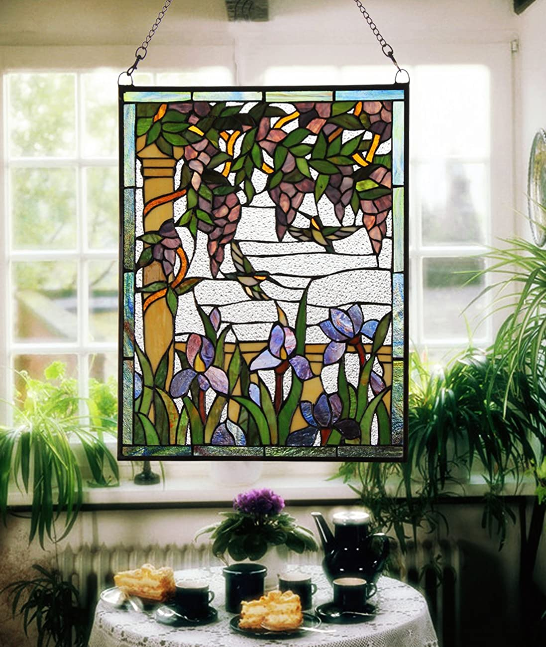 Makenier Vintage Tiffany Style Stained Art Glass Wisteria and Hummingbirds Window Panel Wall Hanging 1