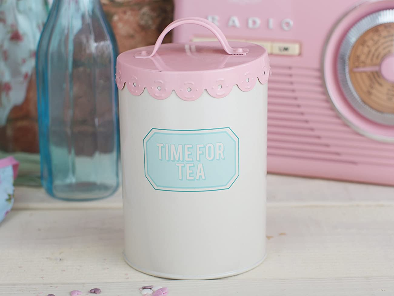 Creative Tops Retro Treats Pink Tea Storage Tin 1