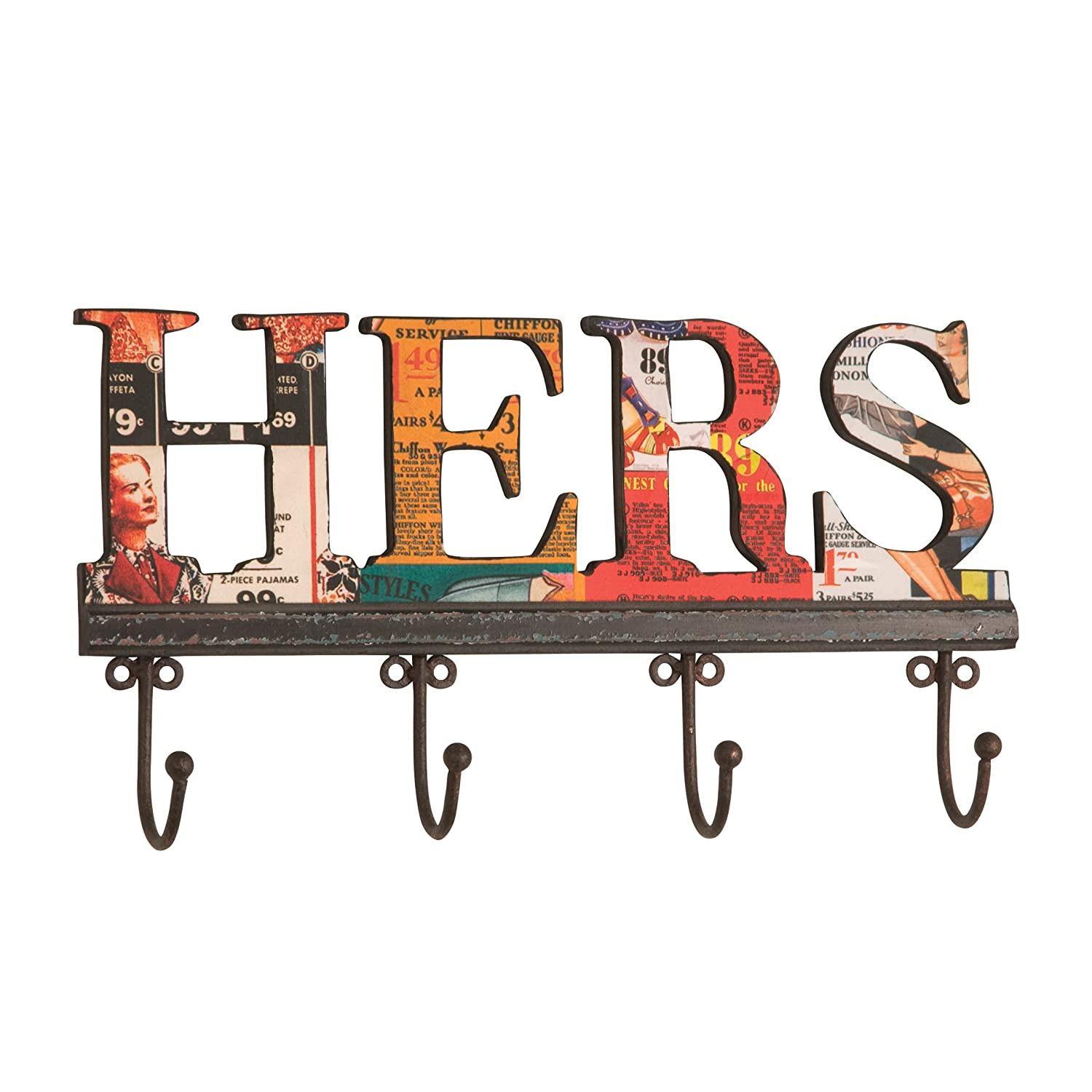 Bright Colored Hers Wooden Collage Wall Hook