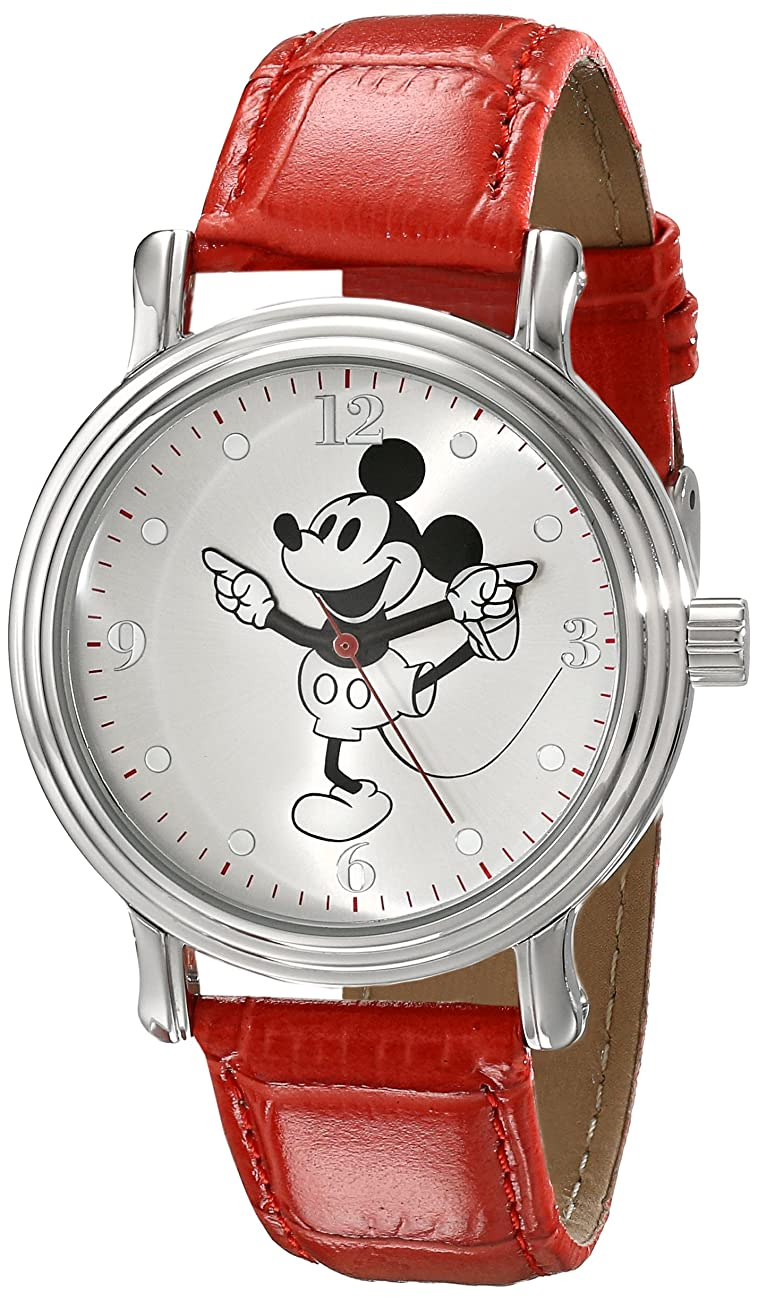Disney Women's W001866 Mickey Mouse Silver-Tone Watch with Red Faux Leather Band 0
