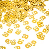 Willbond Gold 50th Birthday Confetti, 50 Number Confetti, 50th Party Confetti, 2 Bags (1400 Pieces)