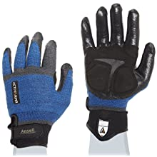 Ansell ActivArmr 97-003 Nitrile Coated Heavy Laborer Gloves, Cut Resistant, Adjustable Cuff, Large, Blue/Black (1 Pair)