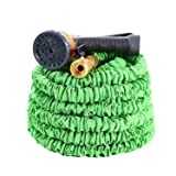 Expandable Garden Hose, Ohuhu 100 Feet Strong Expanding Garden Hose, 100 ft Flexible Water Hose with All Brass Connector & 8-Pattern High Pressure Spray Nozzle