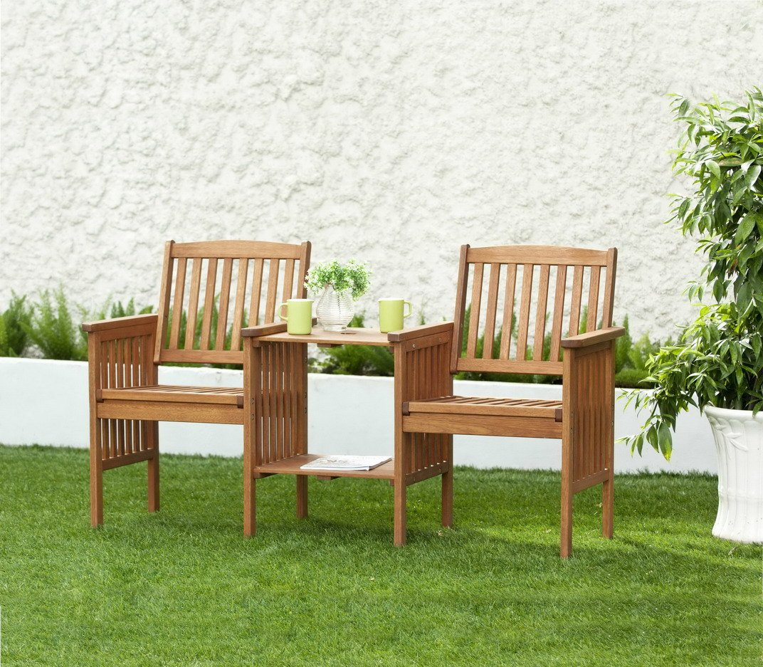 Garden Table And Chairs Set Wood: Garden Set Wooden Table Chairs 2 Seater Bench Wooden Deck