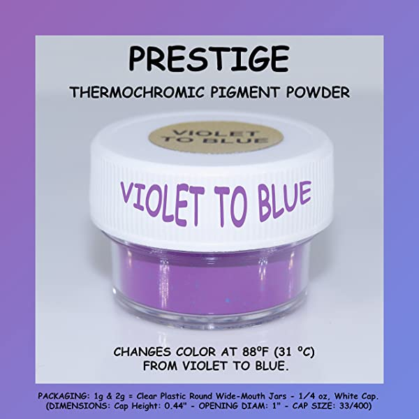 Prestige THERMOCHROMIC Pigment That Changes Color at 88°F (31 °C) from Colored to Transparent (Colored Below The Temperature, Transparent Above) Perfect for Color Changing Slime! (2g, Violet to Blue) (Color: VIOLET TO BLUE, Tamaño: 2g)