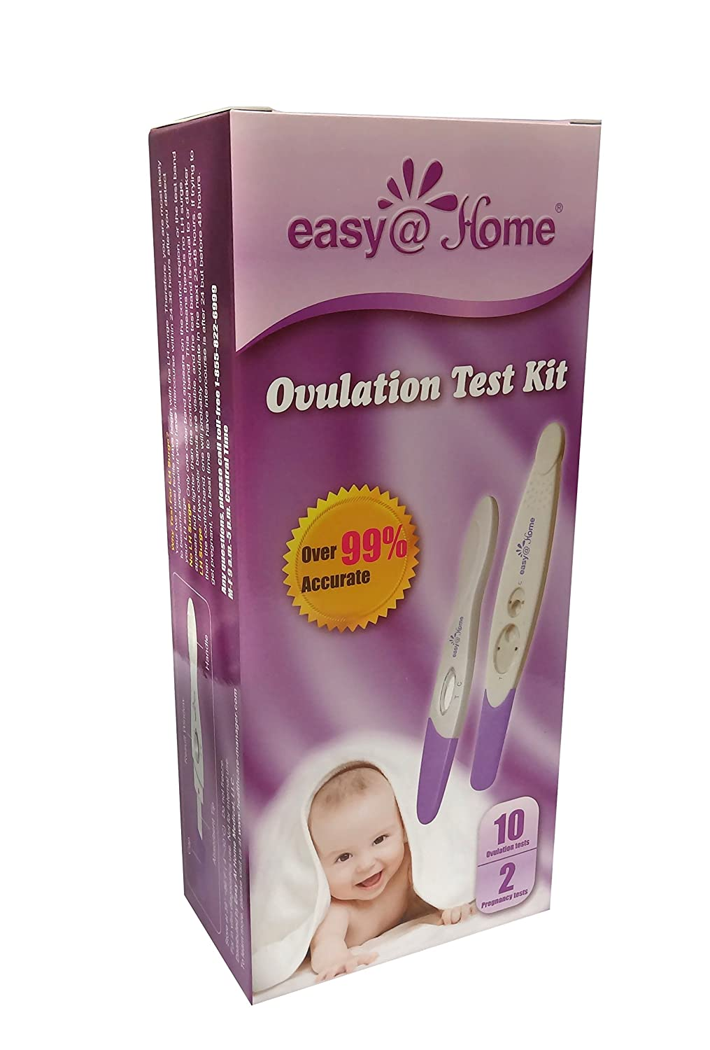 Easy@Home 10 Ovulation (LH) Tests Plus 2 Pregnancy (HCG) tests - Midstream Test sticks