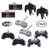 Vilros Retro Gaming Classic USB Controller Set- Includes: 2 NES Style USB Gamepads -2 SNES Style USB Gamepads-2 SEGA GENASIS Style USB Gamepads-2 PS2 Style USB Gamepads-2 N64 Style USB Gamepads (Color: Set with 2 Of Each, Tamaño: 10 PC Set)