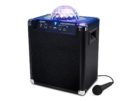 ION Audio Party Rocker Live  Enceinte Haut-parleur Bluetooth 50W avec jeu de lumière, Microphone et App pour iPhone/iPad et Android